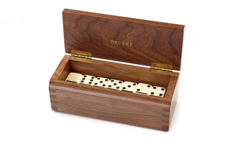 Double Six Dominoes Set in Walnut Wood Case - Parlour