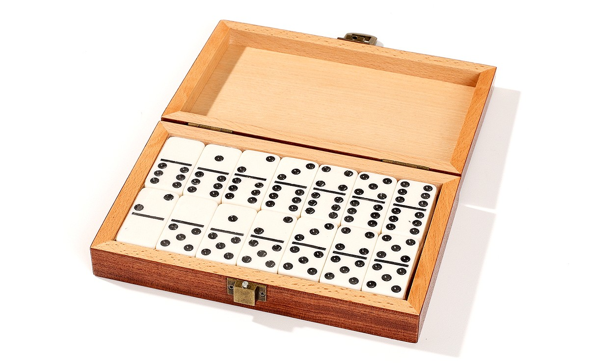 In Out Board >> Double 6 Dominoes Set in Camphor Case - Parlour Games - Zontik Games