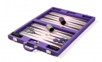 Luxury Backgammon Set in Purple Fabric (4)