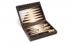 Macassar Ebony Backgammon Set in Brown Leather (1)