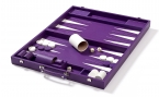 Leather Backgammon Set in Purple w/ Leather Pieces (1)