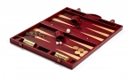 Leather Backgammon Board in Burgundy