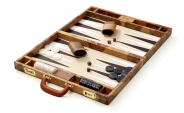 Leather Backgammon Set with World Map Design