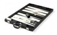 Luxury Backgammon Set in Black Leatherette (4)