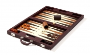 Luxury Backgammon Set in Brown Leatherette (4)