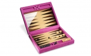 Macassar Ebony Backgammon Set in Pink Leather (1)