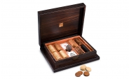 Lacquered Macassar Poker Set in Orange Leather (1)
