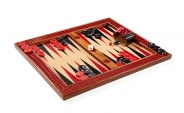 Cork Tabletop Backgammon Set in Black and Red