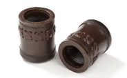 Backgammon Dice Cups in Brown w/ Exterior Stitching