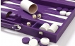 Leather Backgammon Set in Purple w/ Leather Pieces (3)