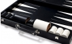 Leather Backgammon Set in Black w/ Leather Pieces (3)