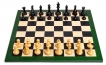 Green Leather Chess Board w/ Pieces