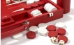 Leather Backgammon Set in Red w/ Leather Pieces (4)