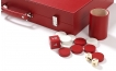 Leather Backgammon Set in Red w/ Leather Pieces (5)