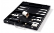 Leather Backgammon Set in Black w/ Leather Pieces (1)