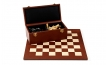 Leather Chess Cabinet Set in Brown w/ Pieces