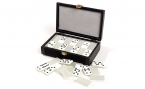 Double 9 Silver Backed Dominoes Set in Suede Case (4)