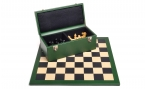 Chess Set w/ Green Leather Cabinet