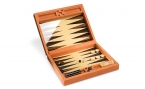 Macassar Ebony Backgammon Set in Orange Leather (1)