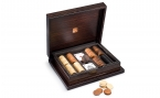 Lacquered Macassar Poker Set in Brown Leather (1)