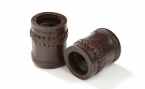 Backgammon Dice Cups in Brown w/ Leather Braid