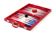 Luxury Backgammon Set in Red Leatherette (4)