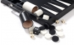 Leather Backgammon Set in Black w/ Leather Pieces (4)