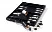 Leather Backgammon Set in Black w/ Leather Pieces (2)