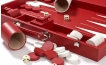 Leather Backgammon Set in Red w/ Leather Pieces (2)