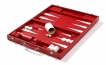 Leather Backgammon Set in Red w/ Leather Pieces (7)